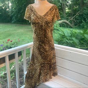 Vintage 90s 2000s Sexy Slinky Dress Leopard Print